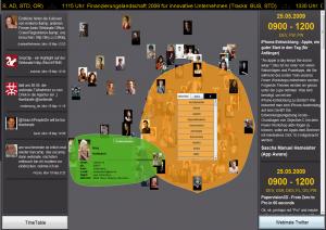Exemplarische Ansicht der SocialNetworkingMirror Anwendung auf der webinale 09